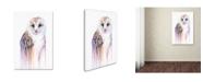 "Trademark Global Michelle Faber 'Barred Rainbow Owl' Canvas Art - 24"" x 16"" x 2"""