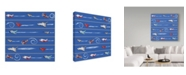 "Trademark Global Sher Sester 'Flight Time Stripe Pattern Blue Repeat' Canvas Art - 24"" x 24"" x 2"""