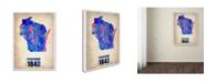 "Trademark Global Naxart 'Wisconsin Watercolor Map' Canvas Art - 24"" x 32"" x 2"""