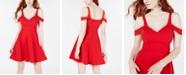 Sequin Hearts Juniors' Scuba Off-The-Shoulder Fit & Flare Dress