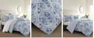 Laura Ashley Mila Blue Comforter Set, Full/Queen