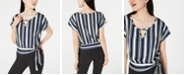 BCX Juniors' Striped Tie-Front Top