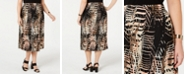 Alfani Plus Size Printed Pleated Midi Skirt, Created for Macy's