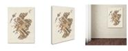 "Trademark Global Michael Tompsett 'Scotland Typography Text Map 6' Canvas Art - 14"" x 19"""