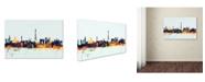 "Trademark Global Michael Tompsett 'Paris France Skyline Blue' Canvas Art - 12"" x 19"""