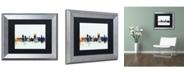"Trademark Global Michael Tompsett 'Cardiff Wales Skyline Blue' Matted Framed Art - 11"" x 14"""