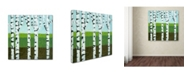 "Trademark Global Michelle Calkins 'Seasonal Birches - Summer' Canvas Art - 14"" x 14"""