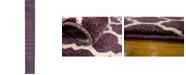 "Bayshore Home Bridgeport Home Arbor Arb1 Purple 2' 7"" x 19' 8"" Runner Area Rug"