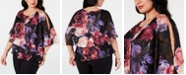 Alex Evenings Plus Size Floral-Print Popover Blouse