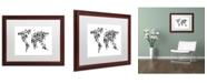 """Trademark Global Michael Tompsett 'Robot Map of the World Black' Matted Framed Art - 16"""" x 20"""""""