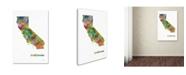 """Trademark Global Marlene Watson 'California State Map-1' Canvas Art - 16"""" x 24"""""""