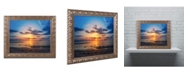 """Trademark Global PIPA Fine Art 'Sunset Breakwater Lighthouse' Ornate Framed Art - 16"""" x 20"""""""