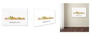 "Trademark Global Marlene Watson 'Kansas City Missouri Skyline WB-1' Canvas Art - 16"" x 24"""