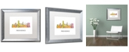 "Trademark Global Marlene Watson 'Providence RI Skyline WB-1' Matted Framed Art - 16"" x 20"""