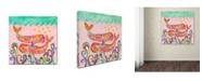 "Trademark Global Wyanne 'Pink Whales' Canvas Art - 18"" x 18"""