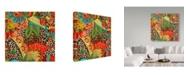 "Trademark Global Jean Plout 'Floral Leopard 1' Canvas Art - 14"" x 14"""