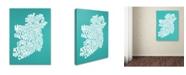 "Trademark Global Michael Tompsett 'TURQOISE-Ireland Text Map' Canvas Art - 18"" x 24"""