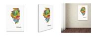 "Trademark Global Marlene Watson 'Illinois State Map-1' Canvas Art - 22"" x 32"""