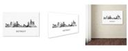 "Trademark Global Marlene Watson 'Detroit Michigan Skyline WB-BW' Canvas Art - 22"" x 32"""