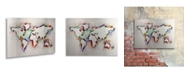 """Trademark Global Michael Tompsett 'World Map' Floating Brushed Aluminum Art - 22"""" x 16"""""""
