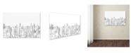"Trademark Global Marlene Watson 'Aberdeen Scotland Skyline BW Thin Line' Canvas Art - 22"" x 32"""