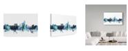 "Trademark Global Michael Tompsett 'Oslo Norway Blue Teal Skyline' Canvas Art - 24"" x 16"""