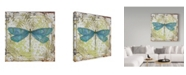 """Trademark Global Jean Plout 'Dragonfly On Tin Tile 2' Canvas Art - 35"""" x 35"""""""
