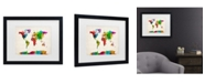 "Trademark Global Michael Tompsett 'Watercolor World Map Ii' Matted Framed Art - 20"" x 16"""
