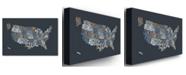 "Trademark Global Michael Tompsett 'United States Text Map' Canvas Art - 24"" x 16"""