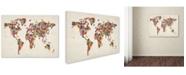 """Trademark Global Michael Tompsett 'Flowers World Map' Canvas Art - 47"""" x 30"""""""