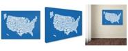 """Trademark Global Michael Tompsett 'SUMMER-USA States Text Map' Canvas Art - 47"""" x 30"""""""