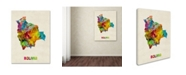 "Trademark Global Michael Tompsett 'Bolivia Watercolor Map' Canvas Art - 24"" x 32"""