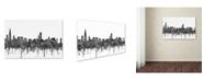 "Trademark Global Marlene Watson 'Chicago Illinois Skyline BW' Canvas Art - 12"" x 19"""