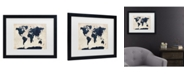 "Trademark Global Michael Tompsett 'World Map -Navy' Matted Framed Art - 14"" x 11"""