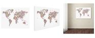 "Trademark Global Michael Tompsett 'Stars World Map' Canvas Art - 14"" x 19"""
