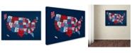 "Trademark Global Michael Tompsett 'USA States Txt Map 2' Canvas Art - 14"" x 19"""