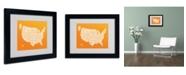 "Trademark Global Michael Tompsett 'ORANGE-USA States Text Map' Matted Framed Art - 14"" x 11"""
