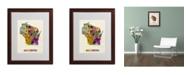 "Trademark Global Michael Tompsett 'Wisconsin Map' Matted Framed Art - 20"" x 16"""