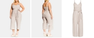 City Chic Trendy Plus Size Carmine Striped Cropped Jumpsuit