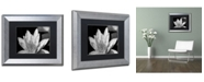 """Trademark Global Kurt Shaffer 'Water Lily in Black and White' Matted Framed Art - 11"""" x 14"""""""