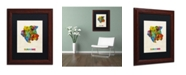 "Trademark Global Michael Tompsett 'Suriname Watercolor Map' Matted Framed Art - 11"" x 14"""