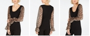 INC International Concepts INC Leopard-Sleeve Sweater, Created for Macy's