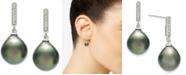 Macy's Cultured Tahitian Pearl (10mm) & Diamond (1/10 ct. t.w.) Drop Earrings in 14k White Gold
