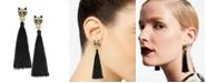 Thalia Sodi Gold-Tone Crystal Leopard Head & Tassel Drop Earrings, Created for Macy's