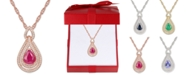 """Macy's Certified Ruby (1-1/4 ct. t.w.) & Diamond (1/4 ct. t.w.) 18"""" Pendant Necklace in 14k Rose Gold (Also available in Emerald, Sapphire and Tanzanite)"""