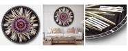 Designart Flowers Oversized Round Metal Wall Clock