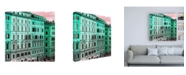 "Trademark Global Philippe Hugonnard Dolce Vita Rome 3 Italian Green Facades Canvas Art - 36.5"" x 48"""