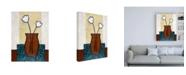 "Trademark Global Pablo Esteban Flowers in Brown Vase and Blue Mat Canvas Art - 15.5"" x 21"""