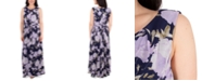 NY Collection Floral-Print Pleated Maxi Dress
