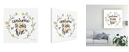 """Trademark Global Sara Zieve Miller Happy to Bee Home III Welcome Canvas Art - 15"""" x 20"""""""